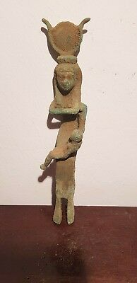 Rare Antique Ancient Egyptian Bronze Statue God Isis & Horus Health 2190-1080BC