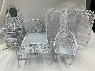 Vintage WROUGHT IRON DOLLHOUSE Vanity W Mirror Stool Bed Chair Dressing Screen