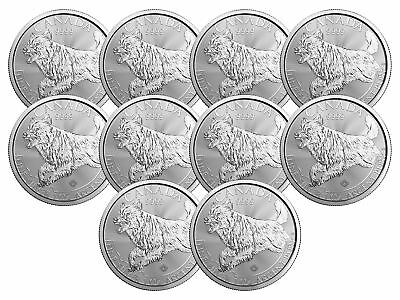 Lot of 10 - 2018 $5 1oz Silver Canadian Wolf .9999 BU
