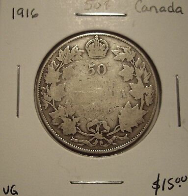 Canada George V 1916 Silver Fifty Cents - VG