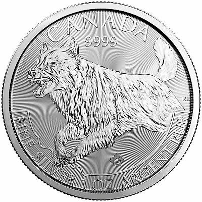 Tube of 25 - 2018 $5 1oz Silver Canadian Wolf .9999 BU