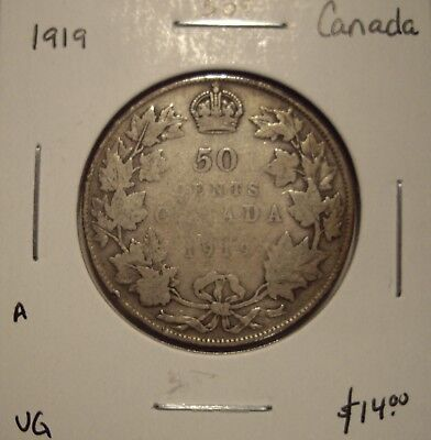 A Canada George V 1919 Silver Fifty Cents - VG