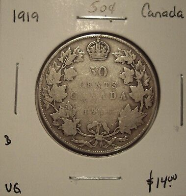 B Canada George V 1919 Silver Fifty Cents - VG