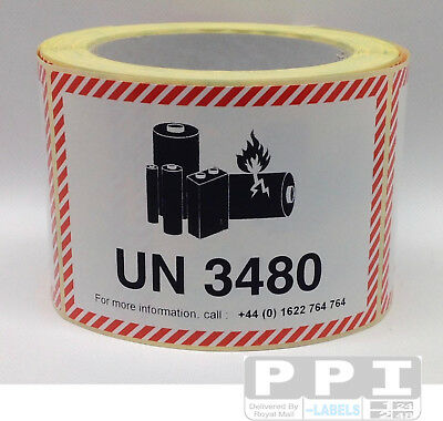 500 IATA UN 3480 LITHIUM BATTERY MARK HAZARD WARNING Labels WITH TEL / UN3480-T