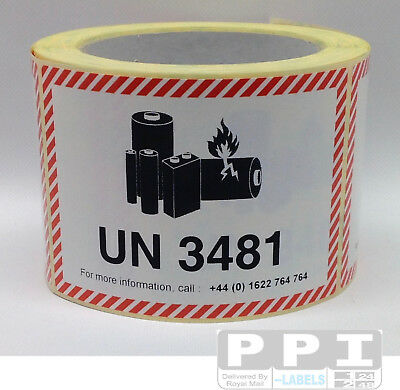 500 IATA UN 3481 LITHIUM BATTERY MARK HAZARD WARNING Labels WITH TEL / UN3481-T