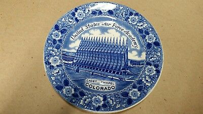 Vintage US Air Force Academy Cadet Chapel Plate Blue White Staffordshire England
