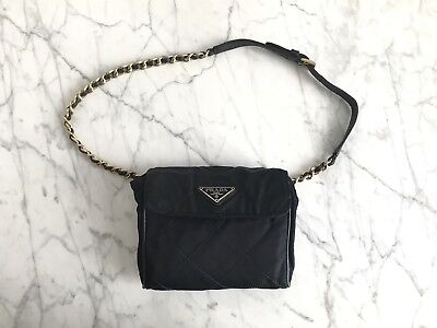 6dd317a2a30b Authentic Vintage PRADA Fanny Pack Quilted Chain Bum Bag WaistBag Kendall  Jenner
