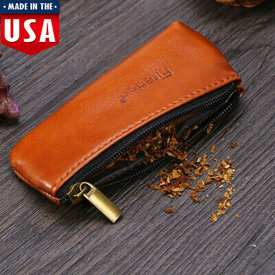 Leather Smoking Tobacco Pipe Pouch Case Holder Bag Storage Portable Carry Brown