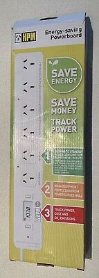 HPM Surge Protected 6 Outlet Energy Saving Power Board White - Track Power Costs