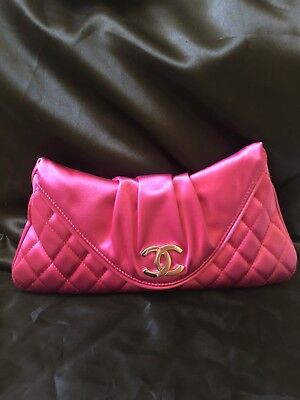 7fbe03bf42488e AUTHENTIC CHANEL CLUTCH Bag Pink Satin Quilted - $500.00 | PicClick