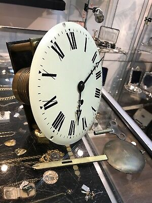 Fusee Movement. With Face, Hands, Key & Pendulum. Dial Clock. Bracket Clock.
