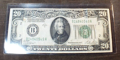 1928 B $20 Dollar Note Bill New York Woods Mellon Redeemable In Gold VF C20