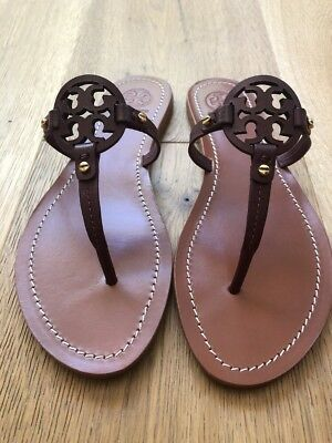 25e4a3139e37cc NWB Tory Burch Mini Miller Veg Leather Thong Sandals Size 8.5 Oxblood Brown