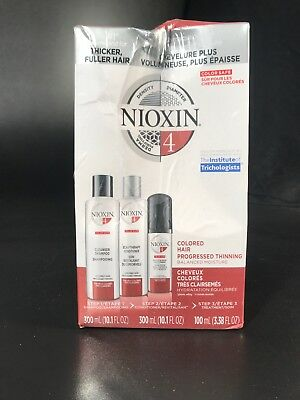 Nioxin 3 Part Hair Care System #4- Colored/ Thinning Hair- NEW Unopened
