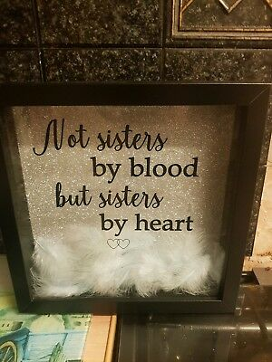 Not Sisters By Blood But Sisters By Heart Glitter Frame 1300