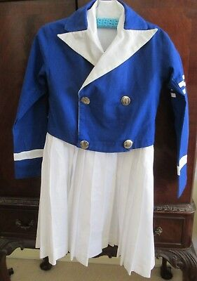 1940s Vintage GIRL'S MUSIC/BAND DRESS & JACKET worn as a 10 year old VGC for ag