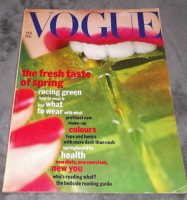 VOGUE MAGAZINE February 1977 JERRY HALL Duffy NORMAN PARKINSON Vintage UK Retro