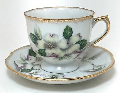 Vintage China Tea Cup & Saucer Duo White Dogwood Gold Trim