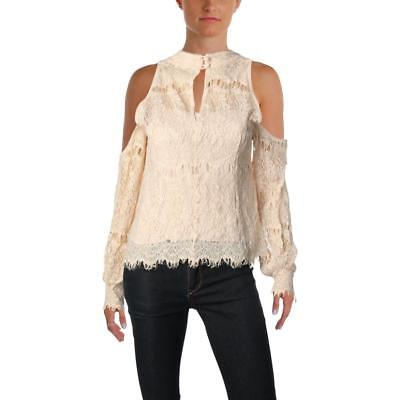 c1c85bb04273d9 Nanette Lepore Womens Dazzling Lace Cold Shoulder Metallic Blouse Top BHFO  3762
