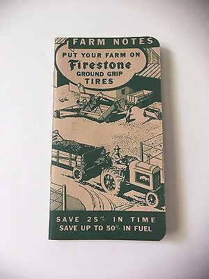 Vtg Original 1937 Firestone Tires Farm Notes Notebook  Calendar  Advertising