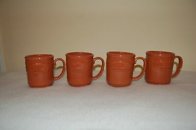 Longaberger Pottery Spice Coffee Mugs Set of 4 USA Made