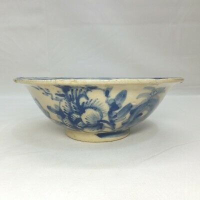 B789: Japanese bowl of OLD KIYOMIZU pottery with good painting of peony