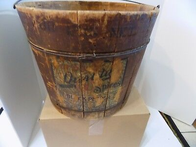 Old Forbes Spices  Black Pepper Wood Bucket  Wire Bail Handle Primitive  (r75-6)