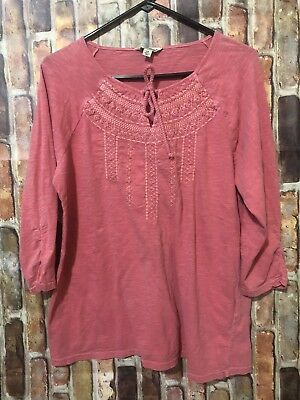 1ff246af631 Lucky Brand 1X Women s Plus Size Solid Peasant Top Blouse Embroidery Casual