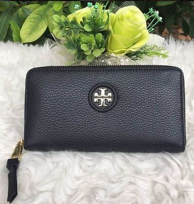 93a4700661d NWT 40919 Authen Tory Burch Whipstitch Logo Leather Zip Continental Wallet  Black