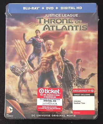 NEW MINT Justice League Throne of Atlantis (2015) Blue-ray Target RARE Steelbook