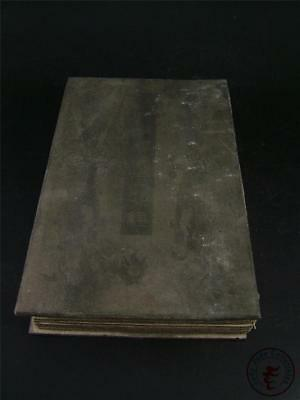 Large Old Chinese Spinach Nephrite Jade Inlaid Ancient Book Kwanyin Calligraphy