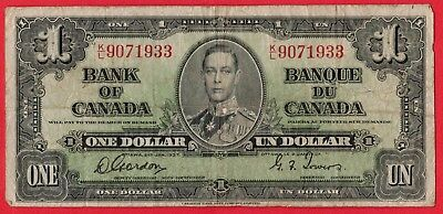 1937 $1 Bank of Canada Note Gordon-Towers K/L Prefix - Circulated