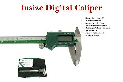 "Insize Left hand digital caliper 0 - 200mm / 0 - 8"" (1130-200) battery included."