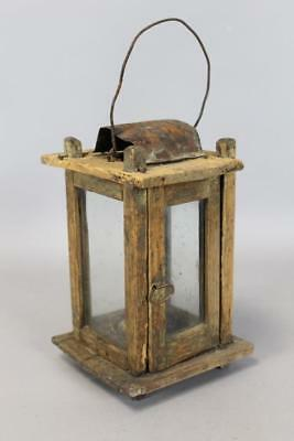 Rare 19Th C New England Wood And Glass Hanging Lantern Great Form Barn Found