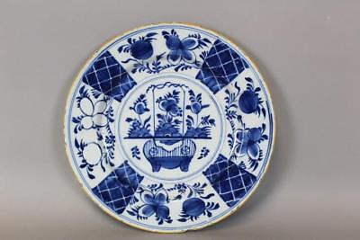 Rare 17Th C Tin Glaze Delft Charger With Vibrant Blue Floral Decorated Design