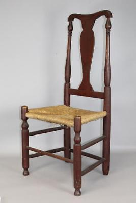 One Of A Pair 18Th C Ct Queen Anne Side Chair In Fantastic Old Red Paint #2
