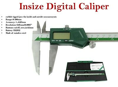 "Insize dig digital caliper TCT 0- 300mm /0 - 12"" (1110-300a) carbide tipped jaws"