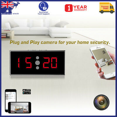 1080P HD Wireless WiFi Night Vision Spy Hidden Camera Clock with Mirrored Front