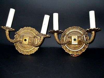 Pair Vintage Hollywood Regency Brass Electric Wall Sconces ~ Made in Spain