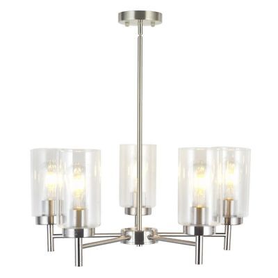VINLUZ Contemporary 5-Light Large Chandeliers Modern Clear Glass Shades Pendant