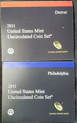 2011 United States US Mint Uncirculated Coin Set - Philadelphia and Denver