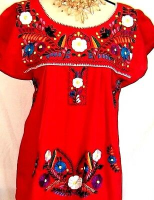 Vtg Mexico Red Dress above knee Floral Embroidery Puebla crocheted Sz S/M Cotton