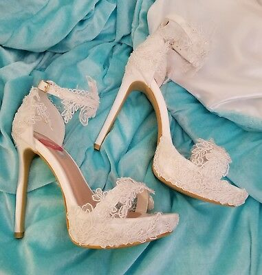 Wedding Dream White Embroidered Beaded Lace Bridal Ankle Strap Stiletto Heels