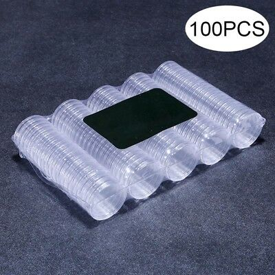 100pcs Clear 27mm Round Coin Box Holder Plastic Storage Display Organizer Cases