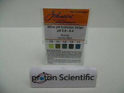 Wine pH Paper Johnson Brand Indicator Test Strips 2.8 - 4.4 pH range