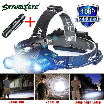 80000LM 3X XM-L T6 LED Headlamp Head Light Flashlight Rechargeable Torch Lamp Uk