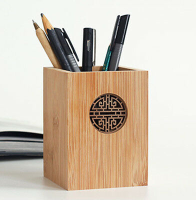 Business & Industrial Chephon Natural Bamboo Wood Desk Pen Pencil Cup Holder Stand Office Accessories