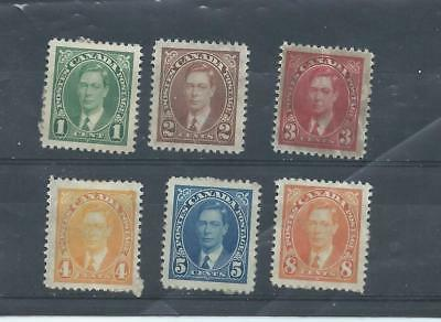 Canada stamps. 1937 George VI unused lot. Paper on backs & 3d looks creased(A863
