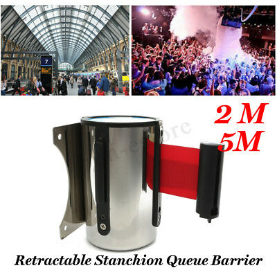 2M/5M Belt Stanchion Queue Barrier Wall Mount Retractable Ribbon Crowd Control