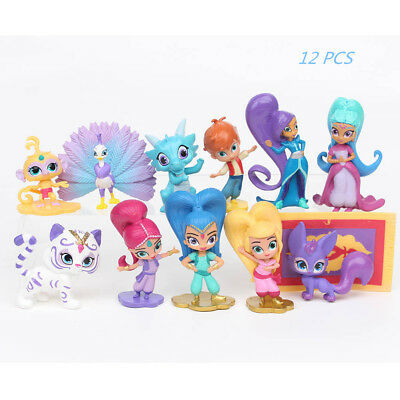 12pcs Shimmer And Shine Action Figure Toys Leah Zac Kaz Tala Nahal Cake Topper